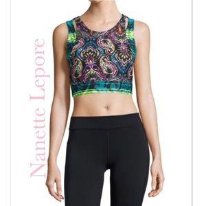 NWT Nanette Lepore Play Crop Top w/ Built in Bra M